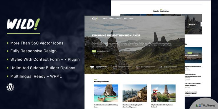 Wild Personal and Travel Blog WordPress Theme
