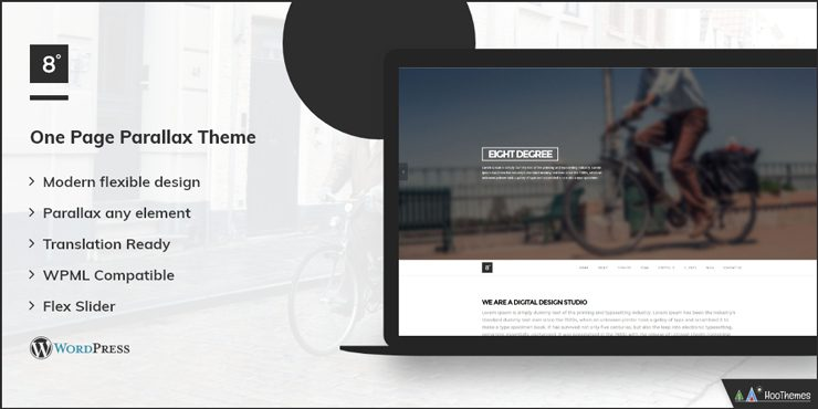 Eight Degree Single Page WordPress Theme