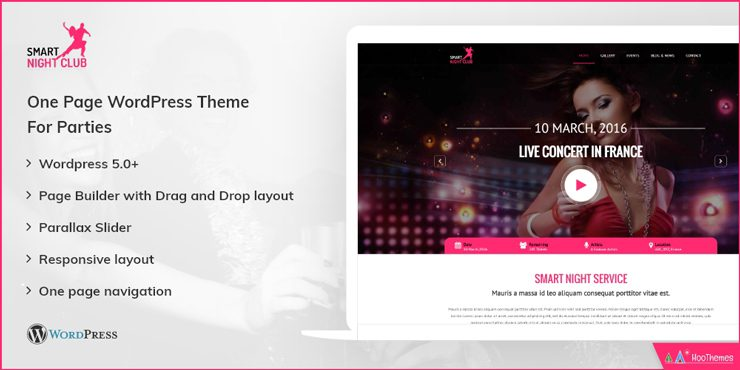 Night Club Single Page WordPress Theme