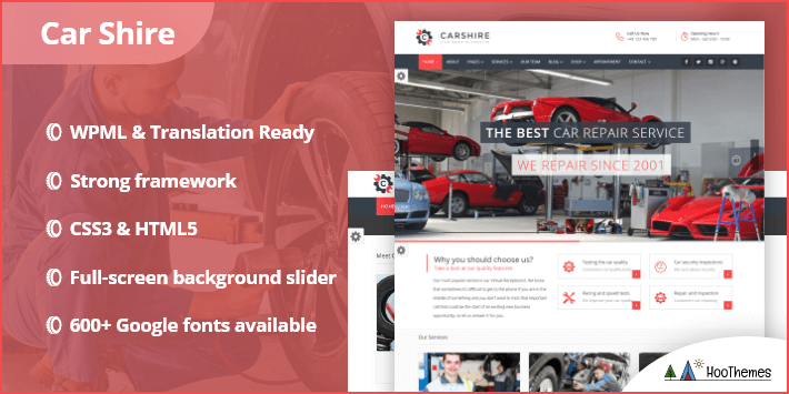 Car Shire Auto Mechanic Repair WordPress Theme