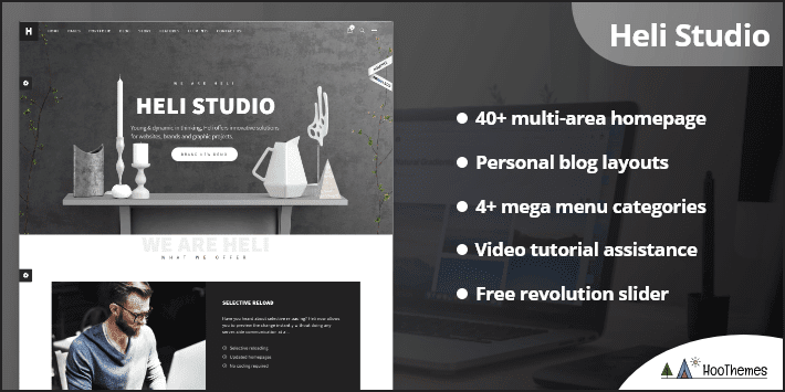 Heli Minimal Creative Black and White WordPress Theme