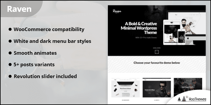 Raven Creative Black White Minimal WordPress Theme