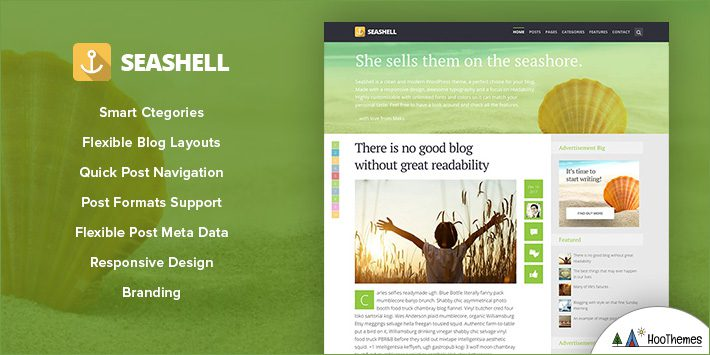 SeaShell - Modern Responsive WordPress Blog Theme for Blogging