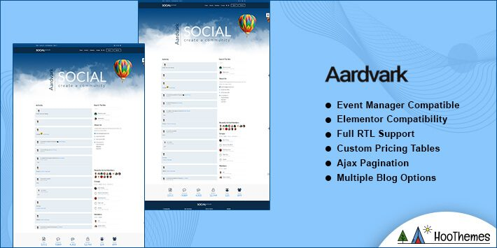 Aardvark WordPress BuddyPress Theme