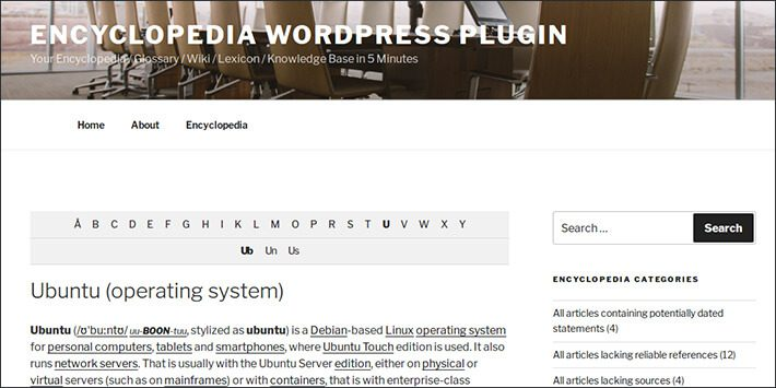 Encyclopedia Glossary Wiki Knowledge Base WordPress Plugin