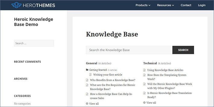 Heroic KB Plugin Knowledge Base WordPress Plugin