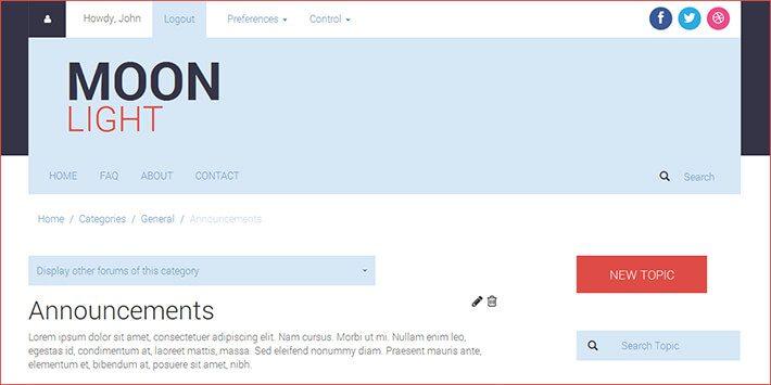 MoonLight WordPress Forum Plugin
