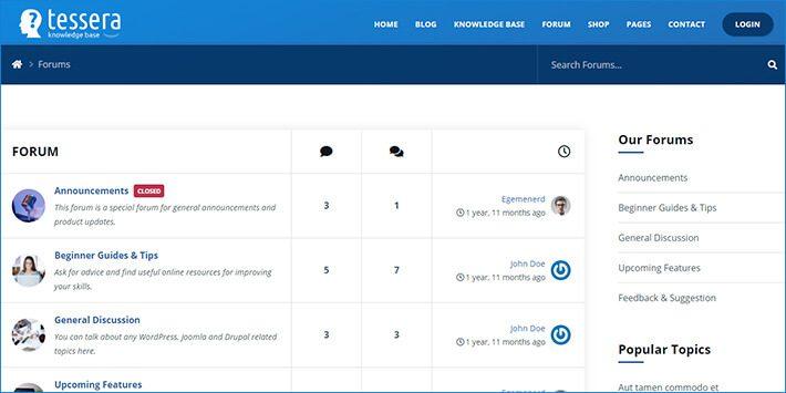 Tessera WordPress Forum Plugin
